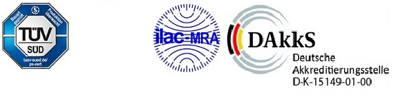 Logo TÜV SÜD, ILAC und DAkkS